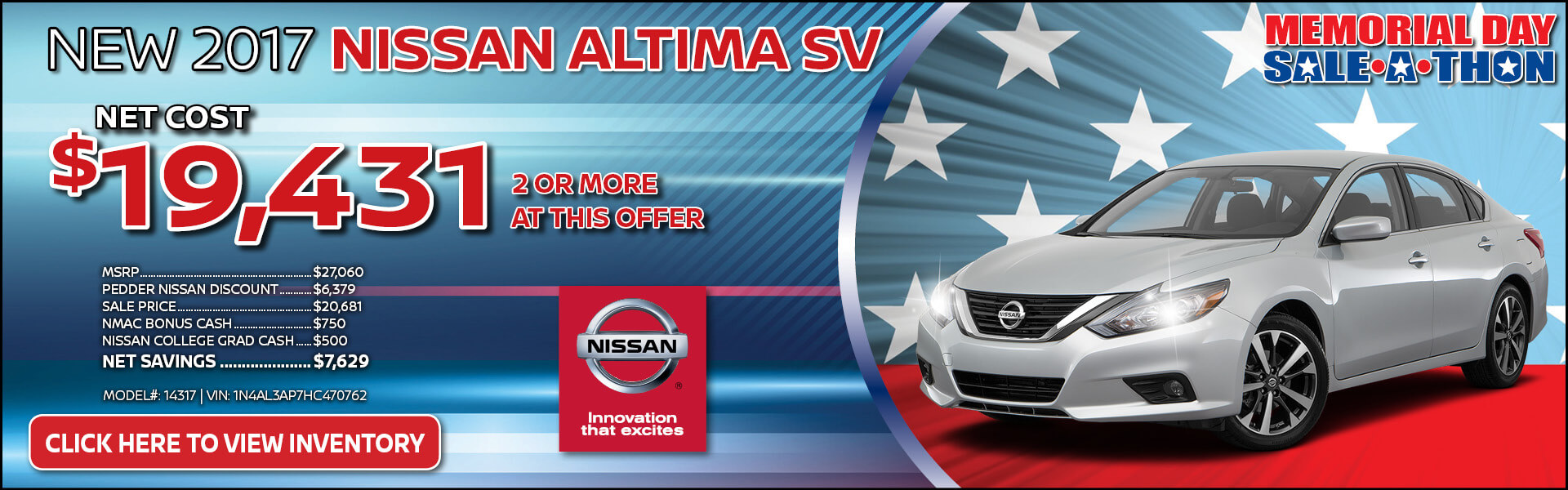 2017 Nissan Altima $19,431 Purchase