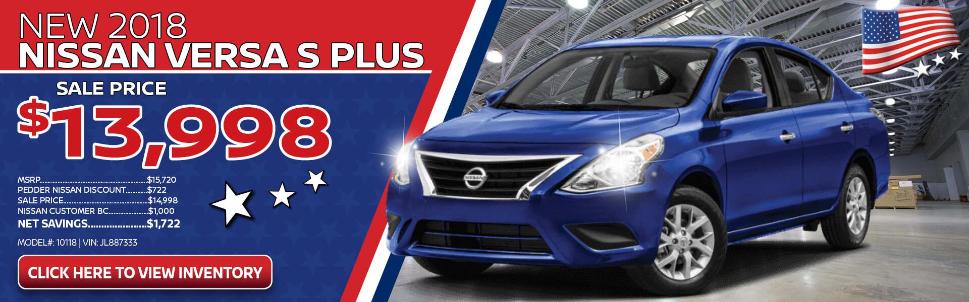 Nissan Versa $13,998 Purchase