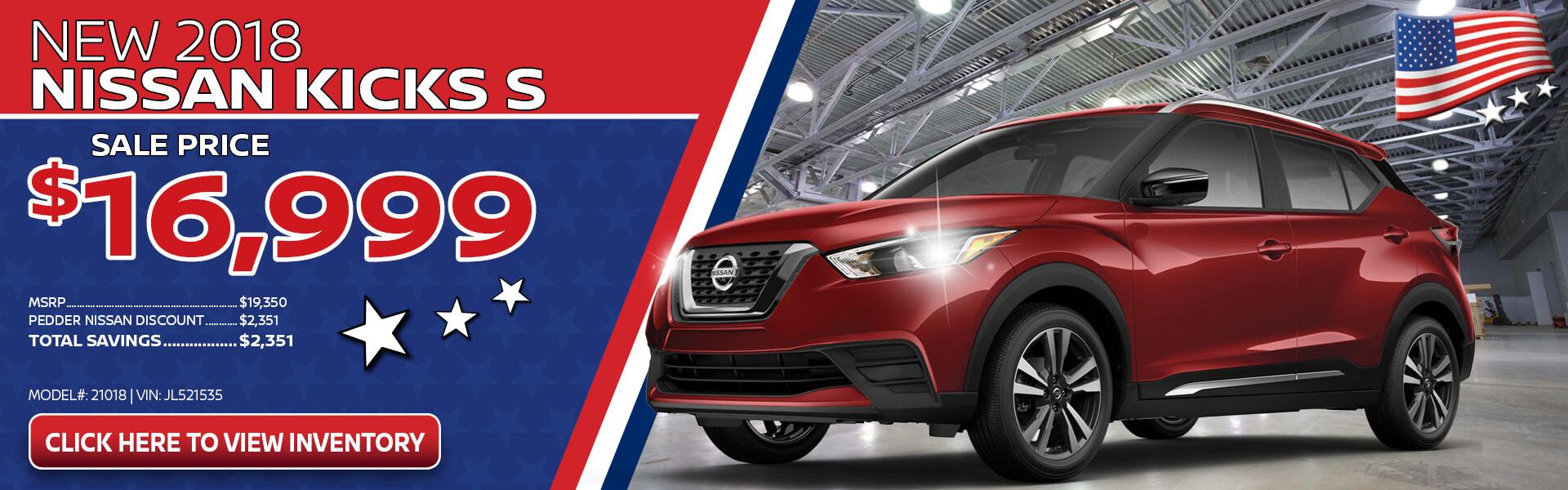Nissan Kicks $16,999 Purchase