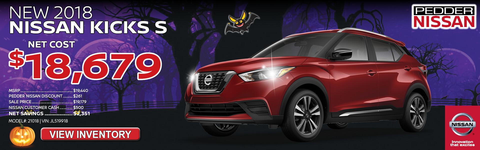Nissan Kicks $18,679 Purchase