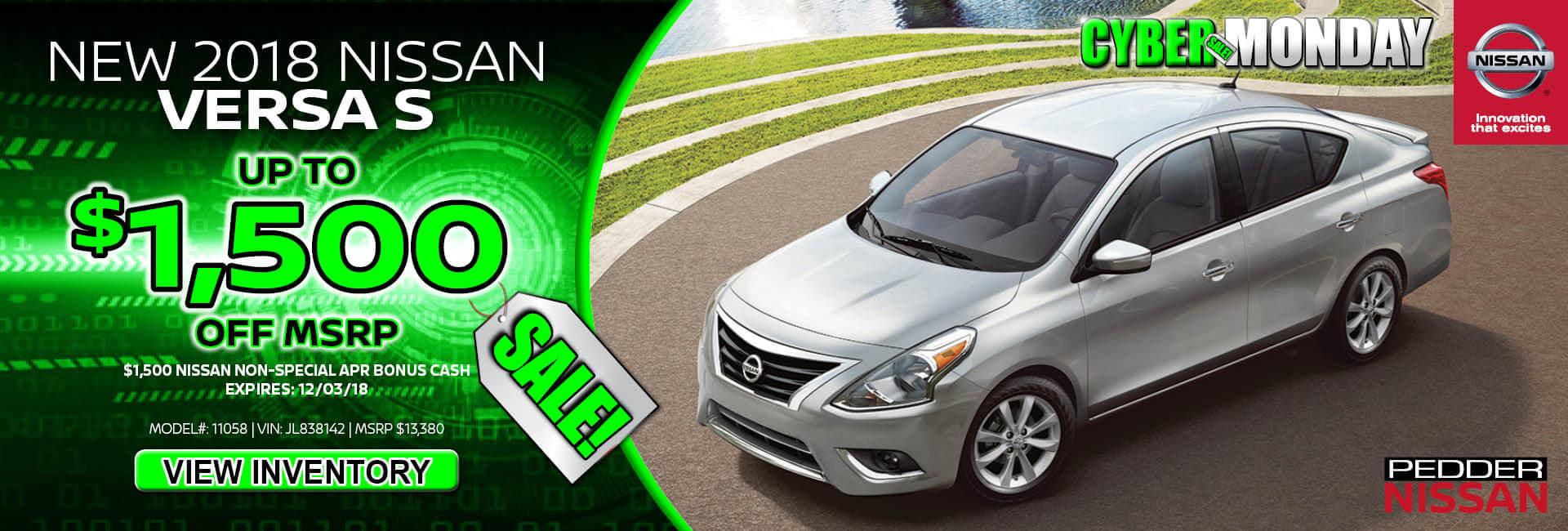 Nissan Versa $1,500 off MSRP