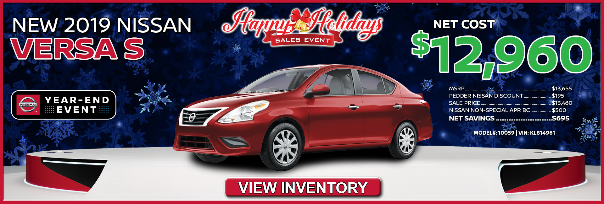 Nissan Versa $12,960
