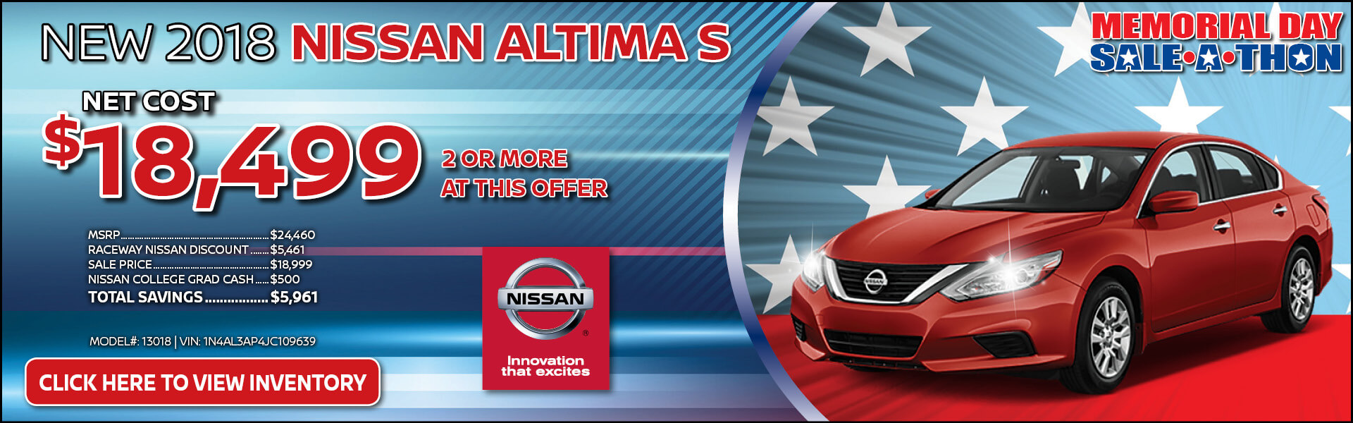 Nissan Altima $18,499 Purchase