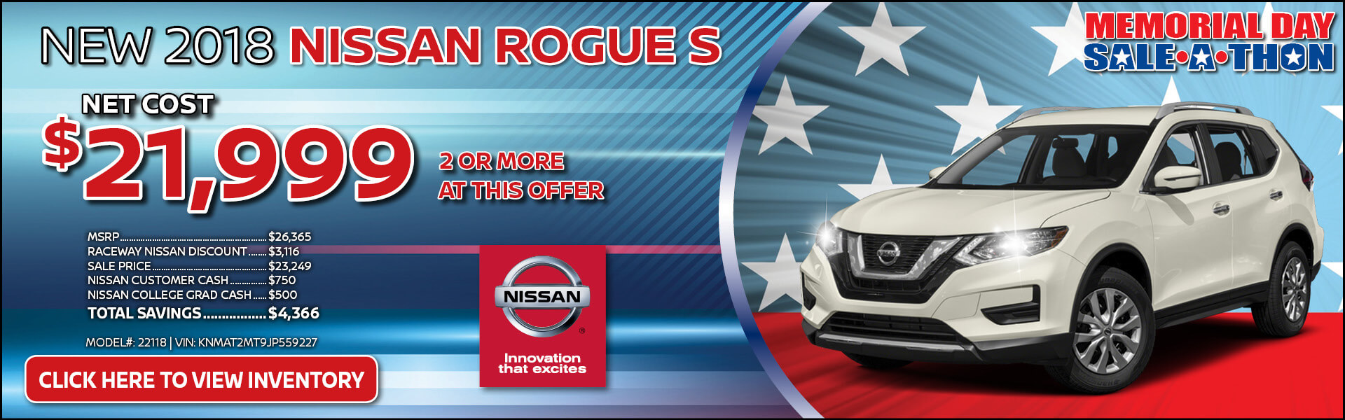 Nissan Rogue $21,999 Purchase
