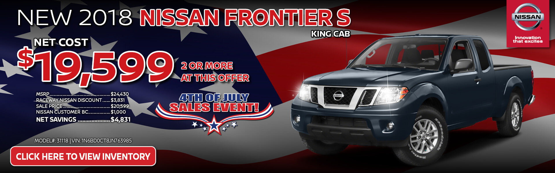 Nissan Frontier $19,599 Purchase