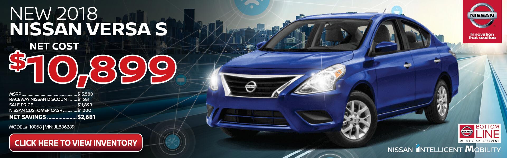 Nissan Versa $10,899 Purchase