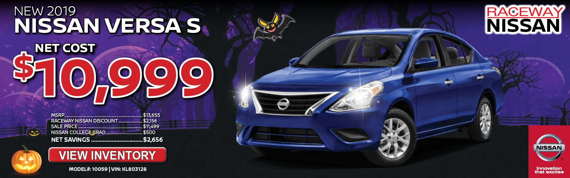 Nissan Versa $10,999 Purchase
