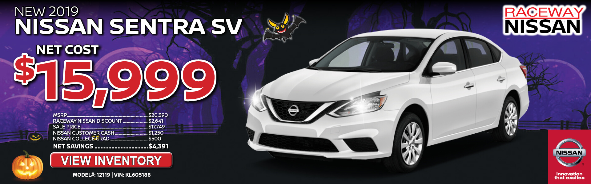 Nissan Sentra $15,999 Purchase
