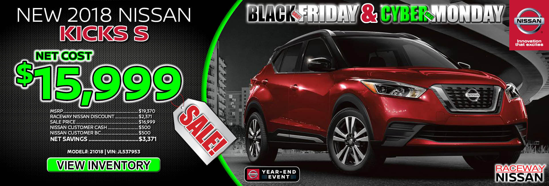 Nissan Kicks $15,999 Purchase