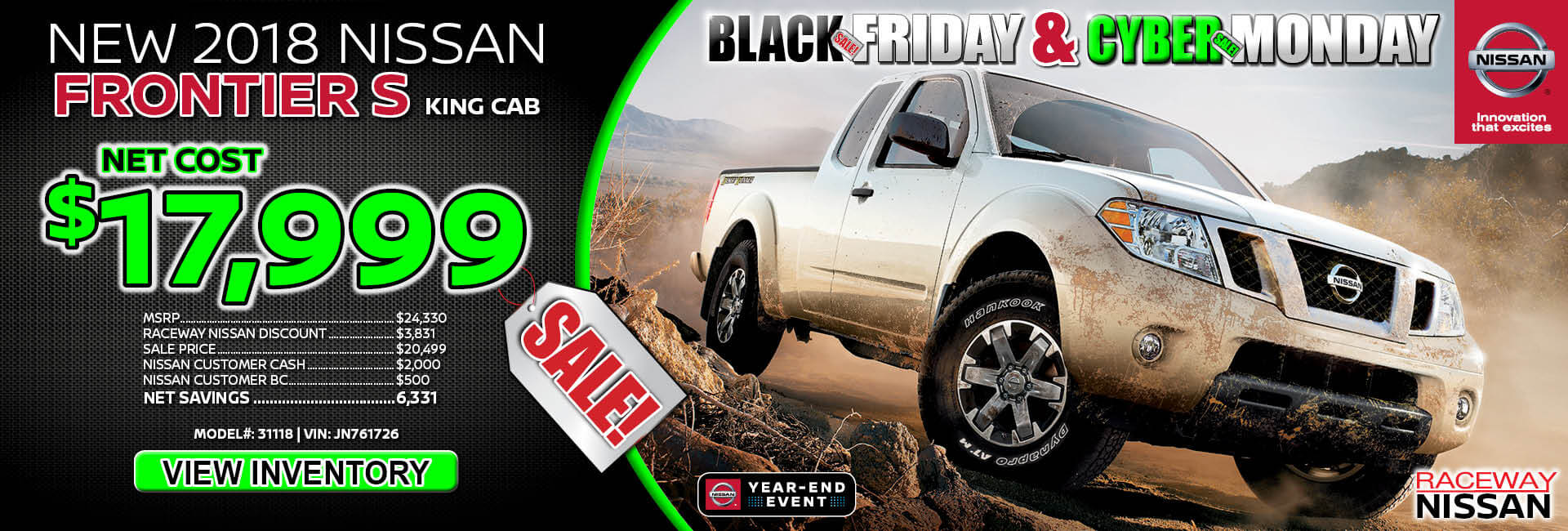 Nissan Frontier $17,999 Purchase
