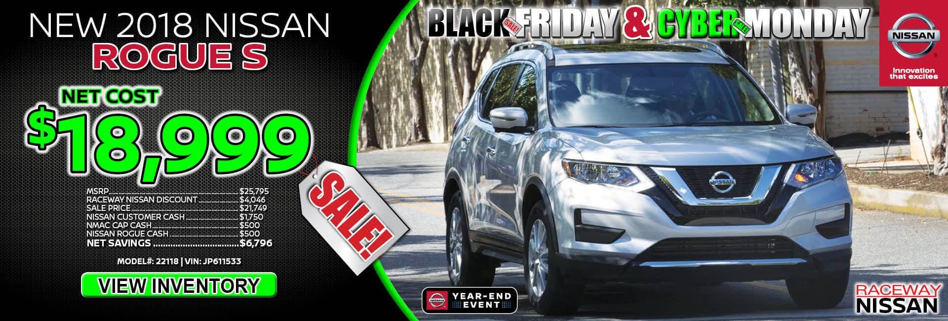 Nissan Rogue $18,999 Purchase
