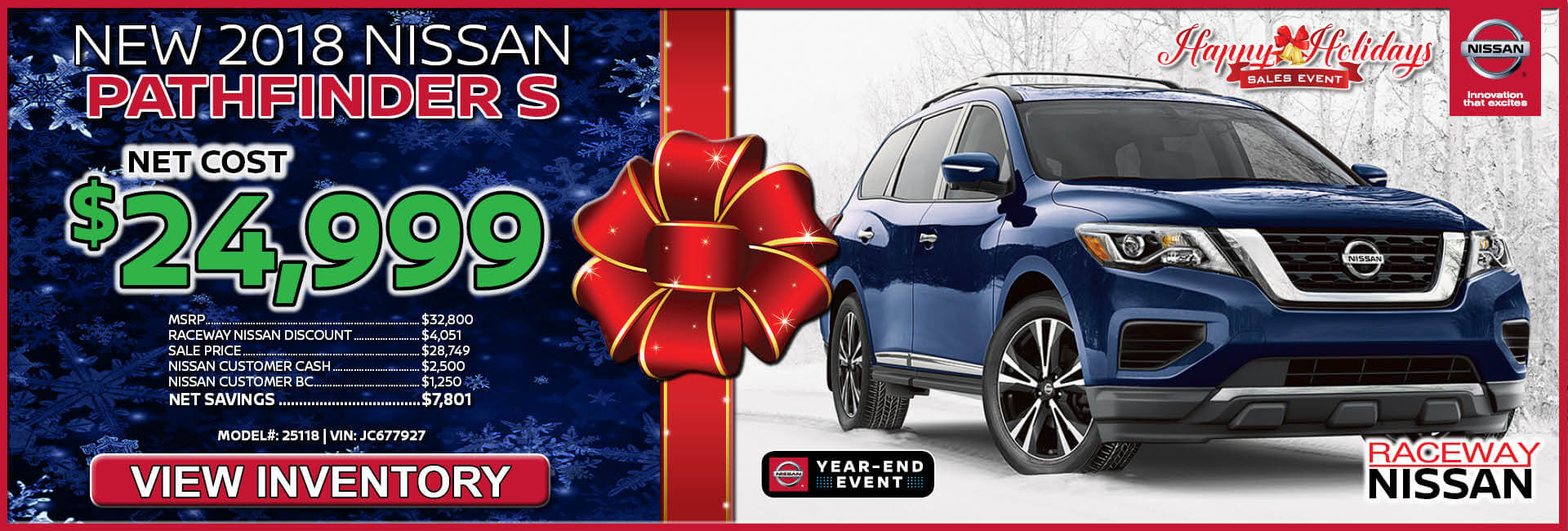 Nissan Pathfinder $24,999 Purchase