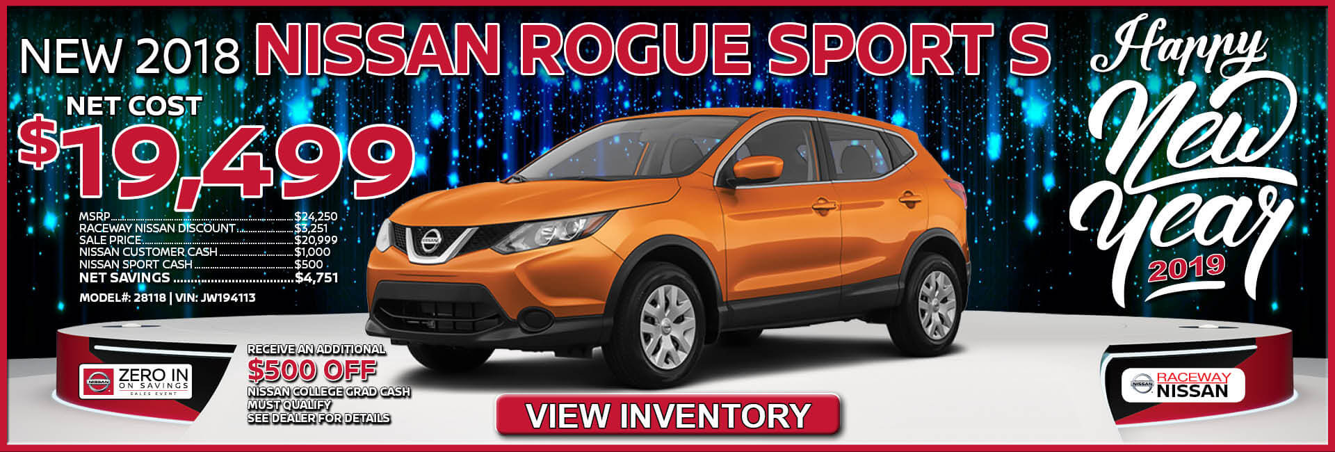 Nissan Rogue Sport $19,499 Purchase