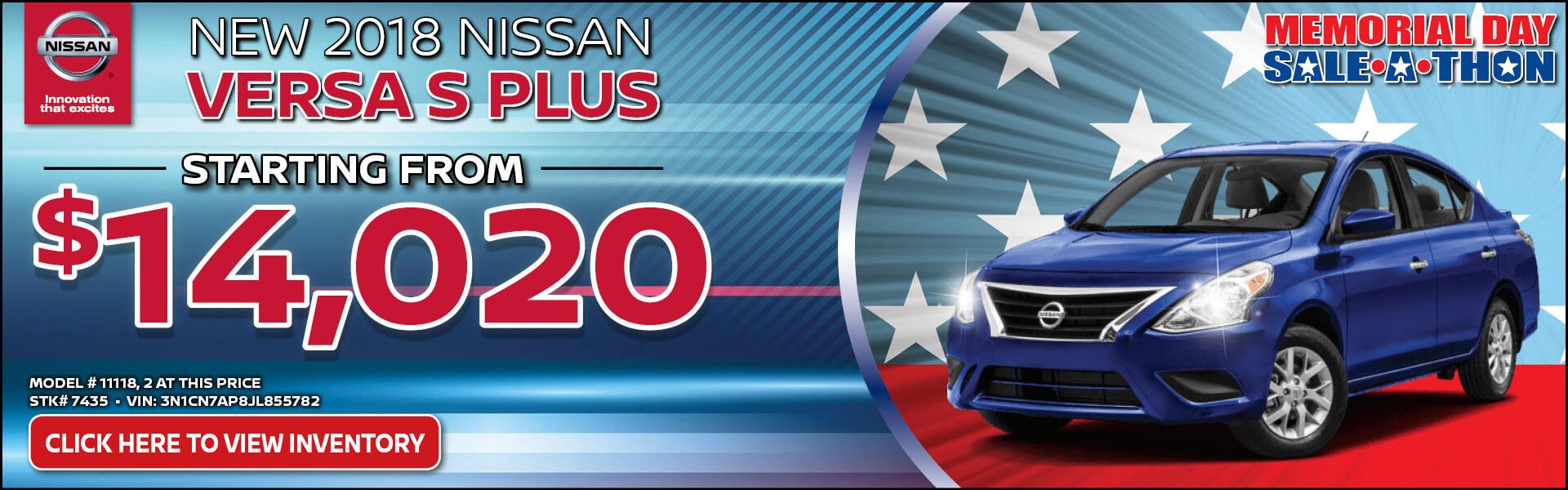 Nissan Versa Versa S Plus $14,020 Purchase
