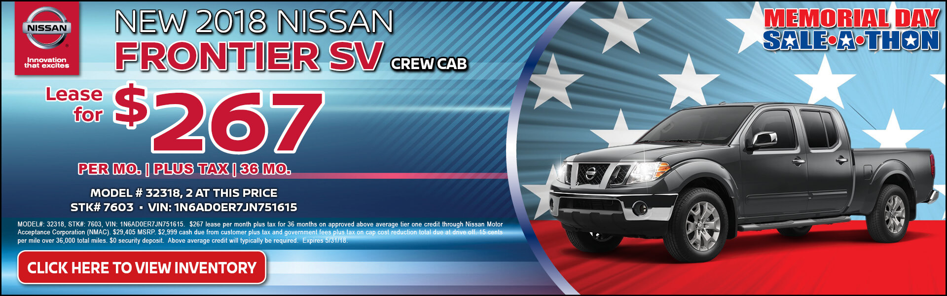Nissan Frontier $267 Lease