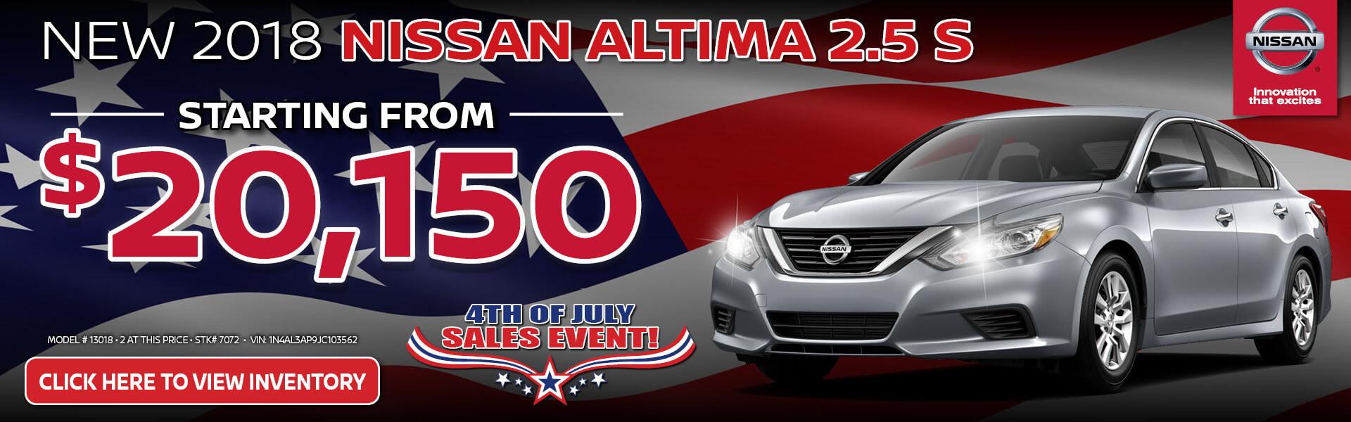 Nissan Altima $20,150 Purchase