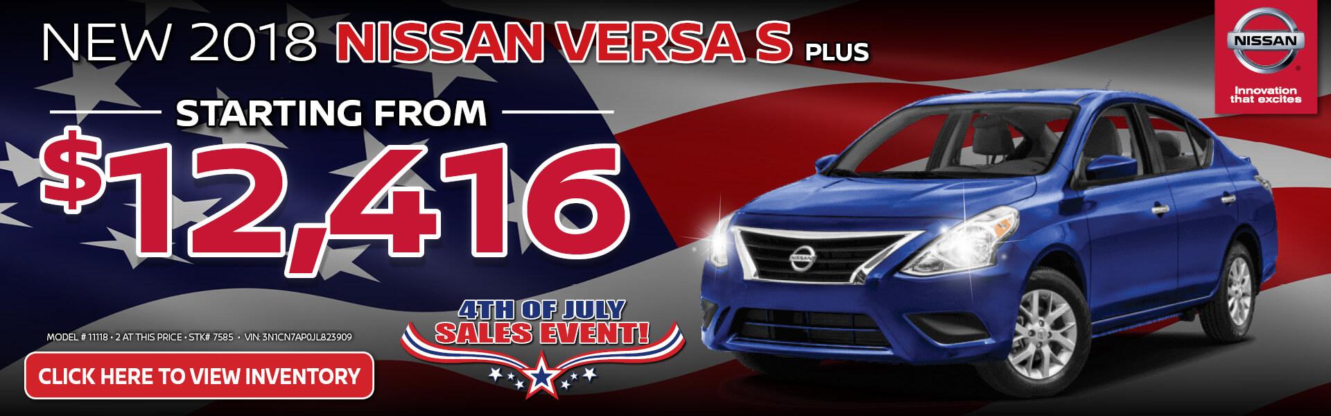 Nissan Versa S Plus $12,416 Purchase