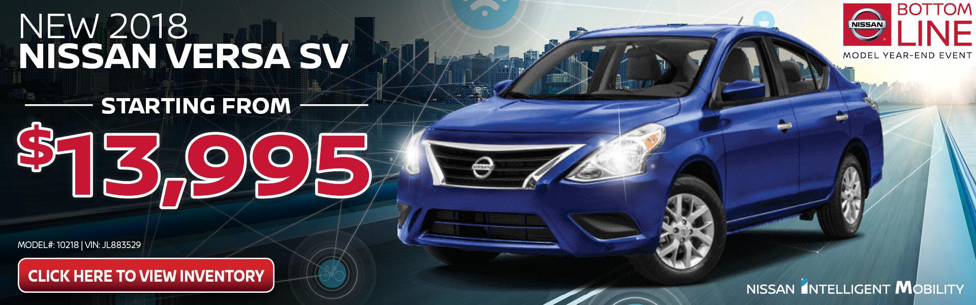 Nissan Versa $13,995 Purchase