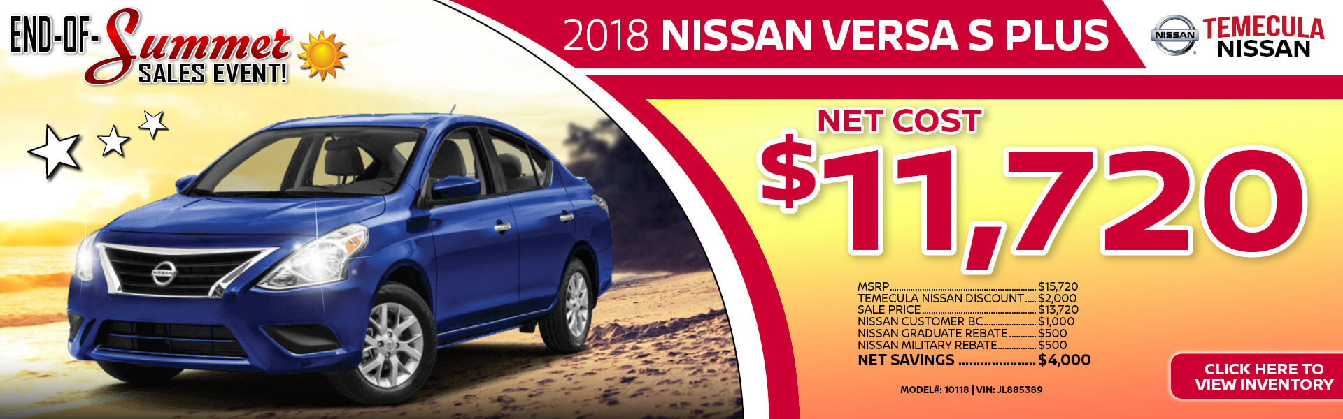 Nissan Versa $11,720 Purchase
