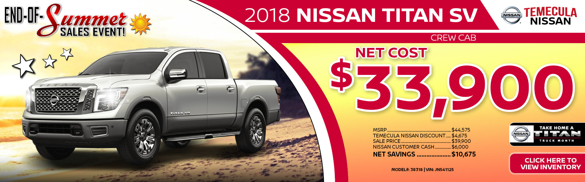 Nissan Titan $33,900 Purchase