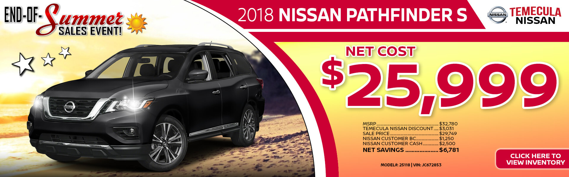 Nissan Pathfinder $25,999 Purchase