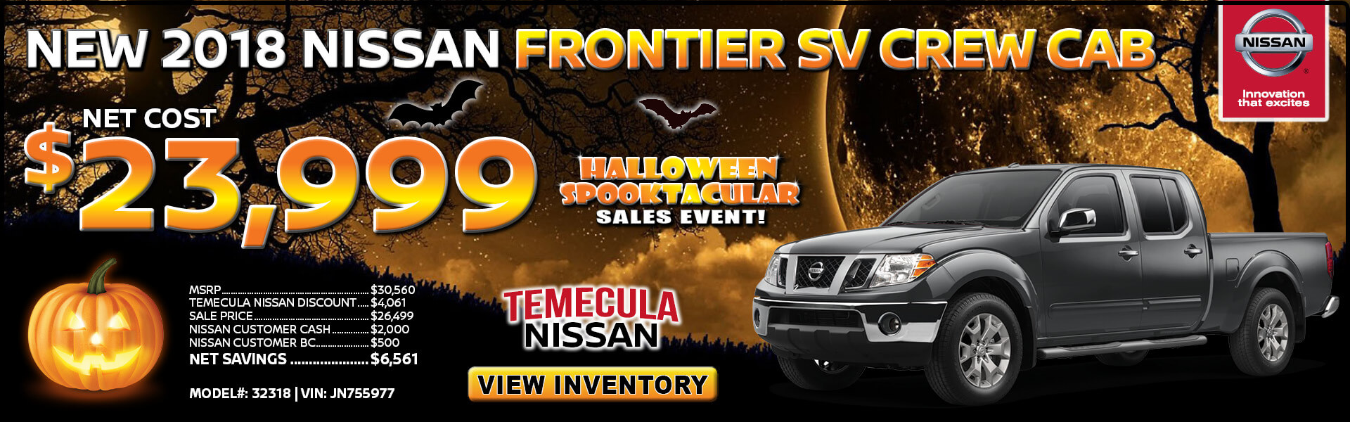 Nissan Frontier $23,999 Purchase