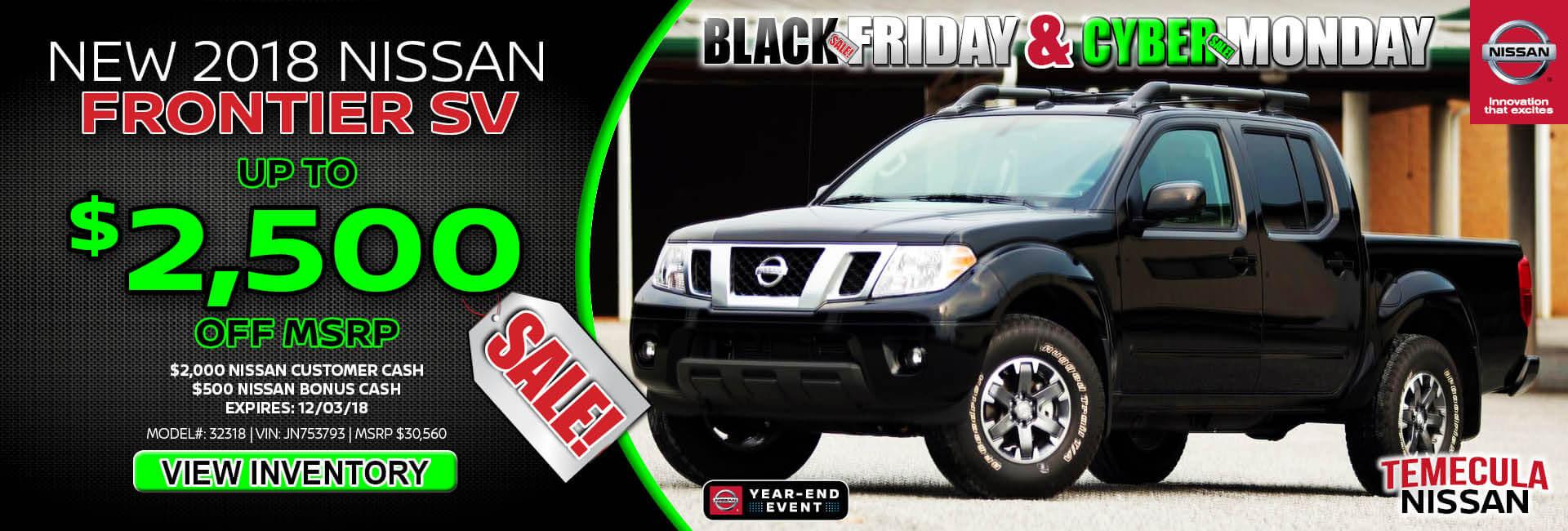 Nissan Frontier $2,500 off MSRP