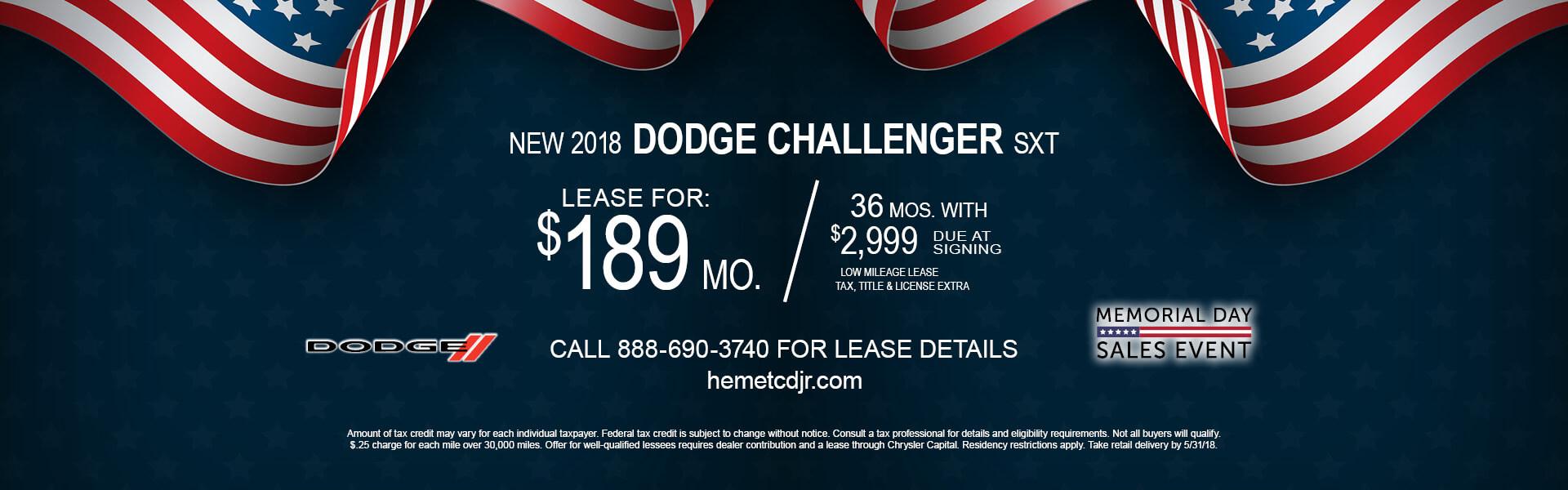 Dodge Challenger SXT $189 Lease