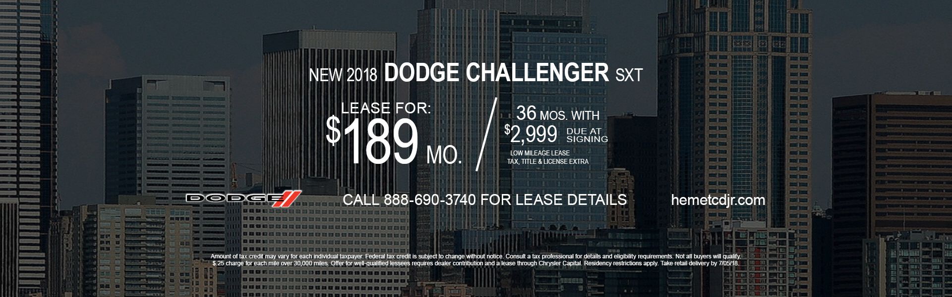 Dodge Challenger SXT $189 Lease