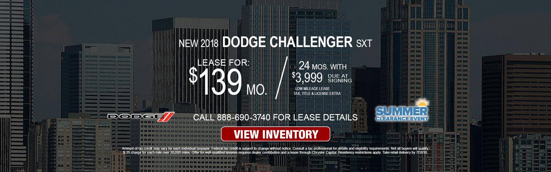 Dodge Challenger SXT $139 Lease