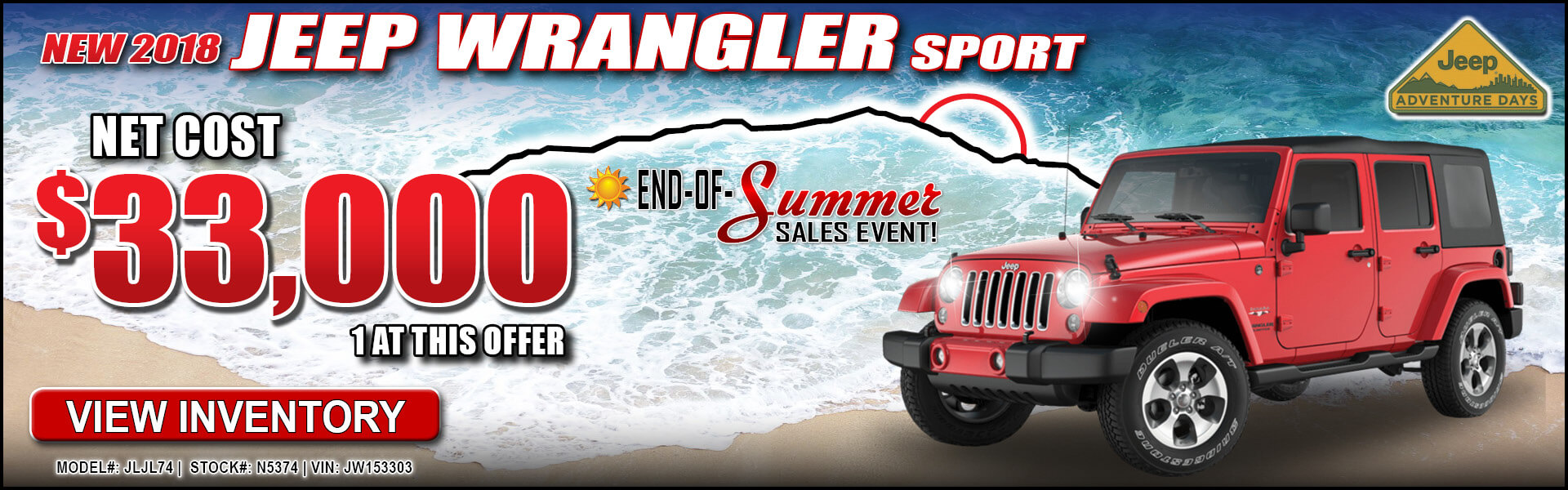 Jeep Wrangler Sport $33,000