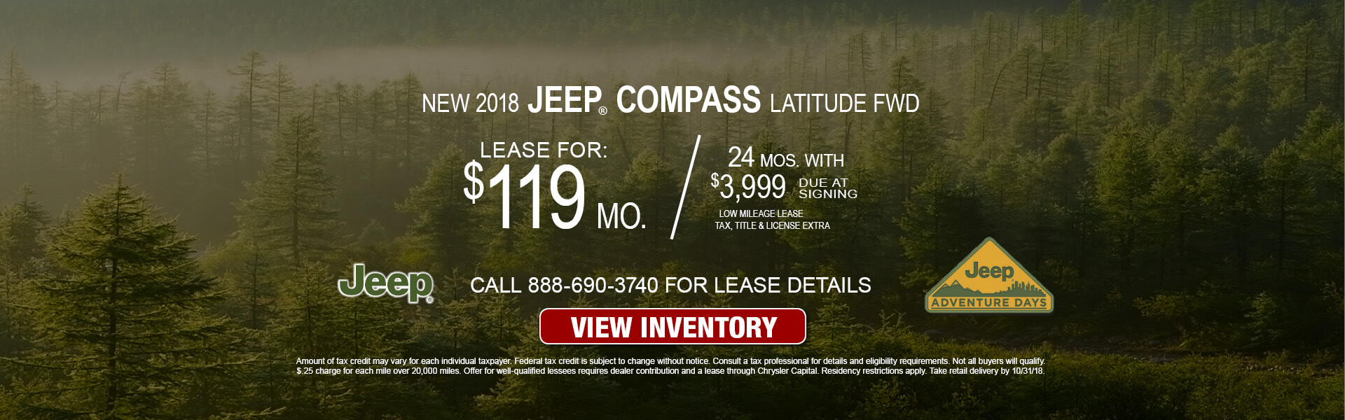 Jeep Compass $119 Lease