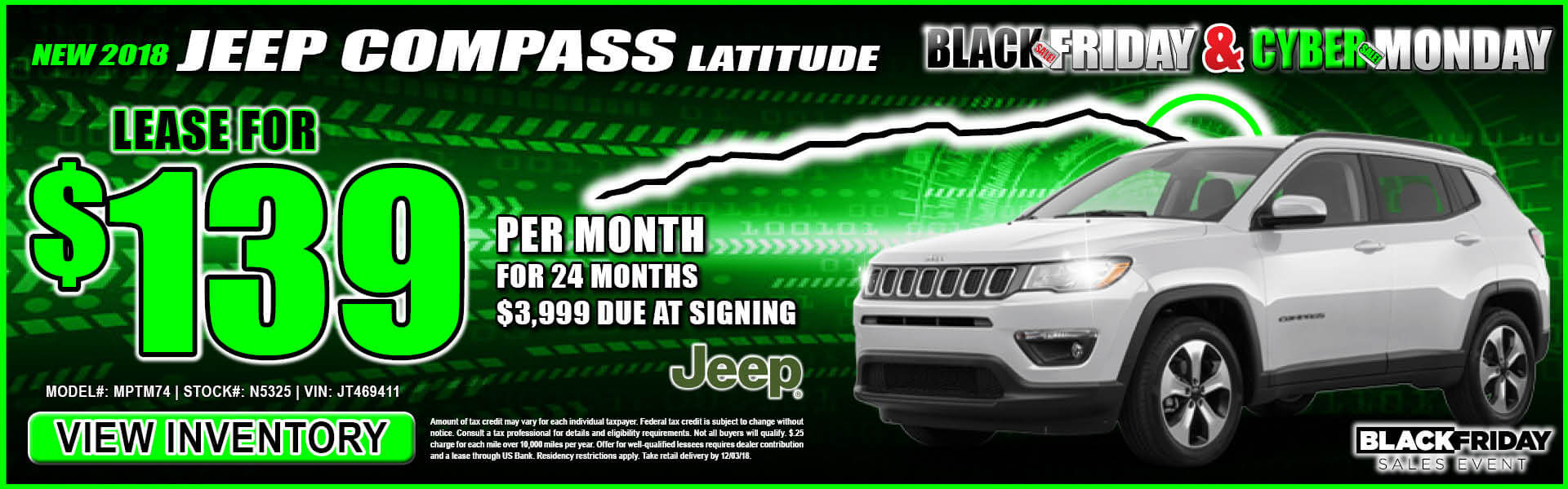 Jeep Compass $139 Lease