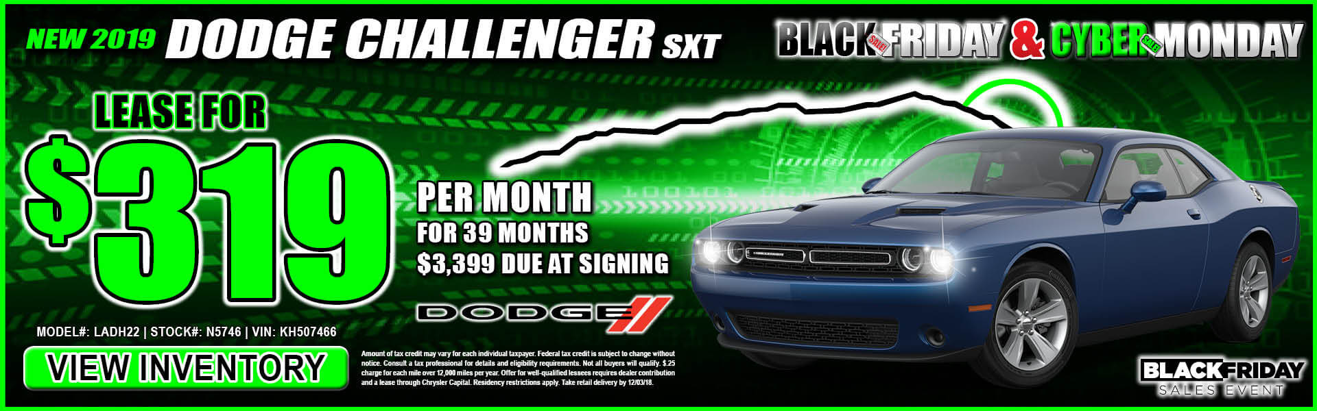 Dodge Challenger $319 Lease