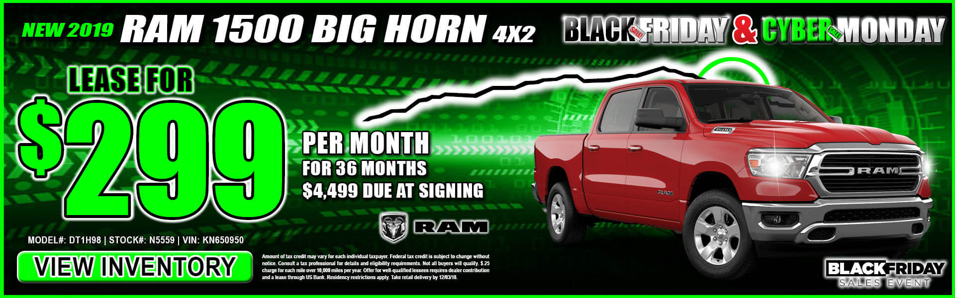 Ram Big Horn 1500 $299 Lease