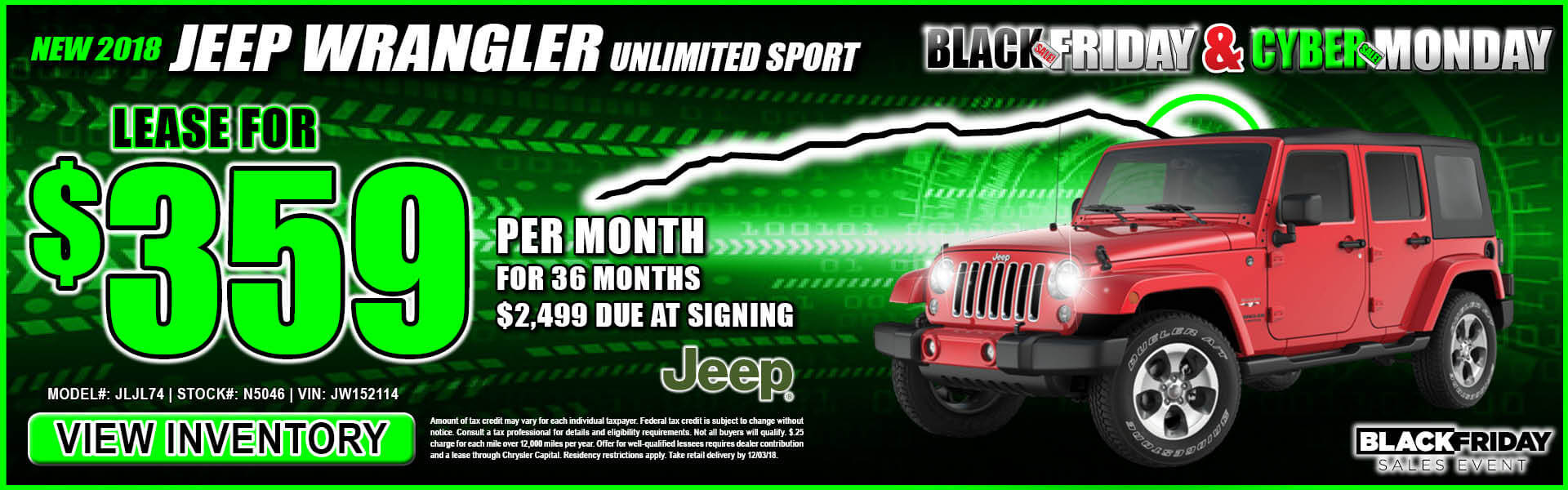 Jeep Wrangler $359 Lease