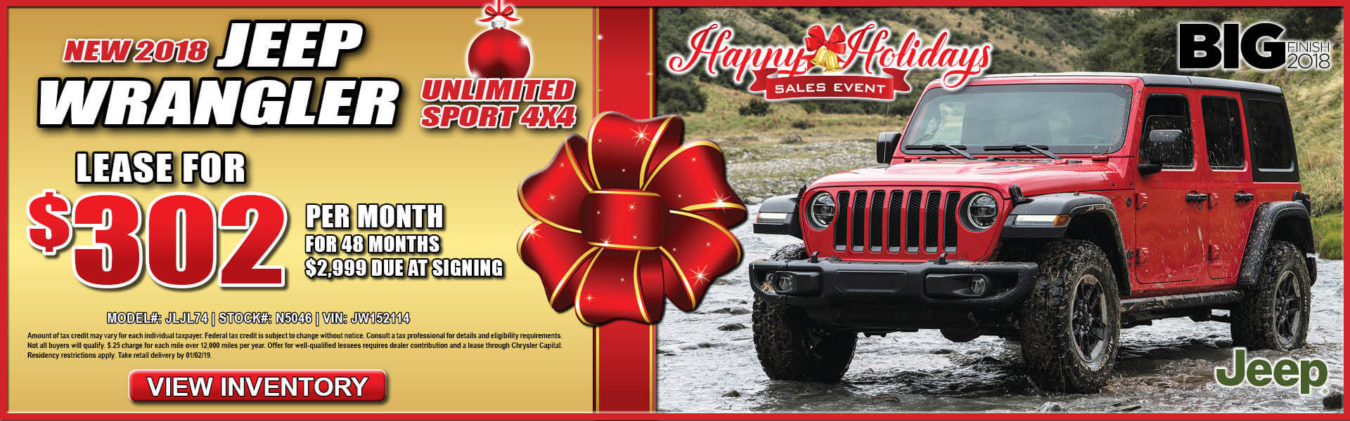 Jeep Wrangler $302 Lease