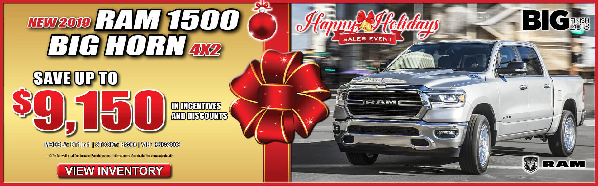 Ram Big Horn 1500 $9150 Incentives