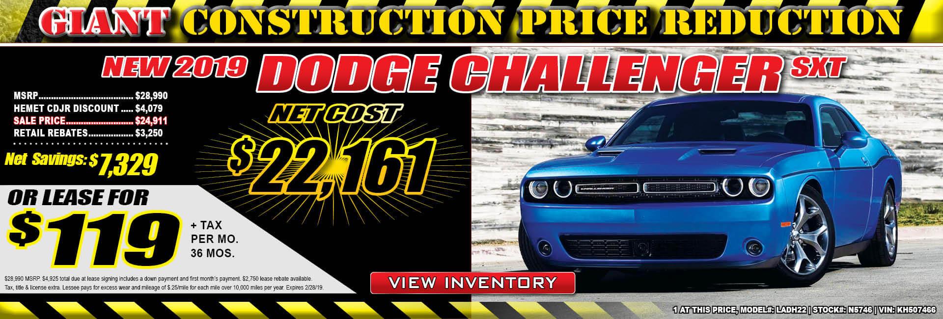 Dodge Challenger $119 lease