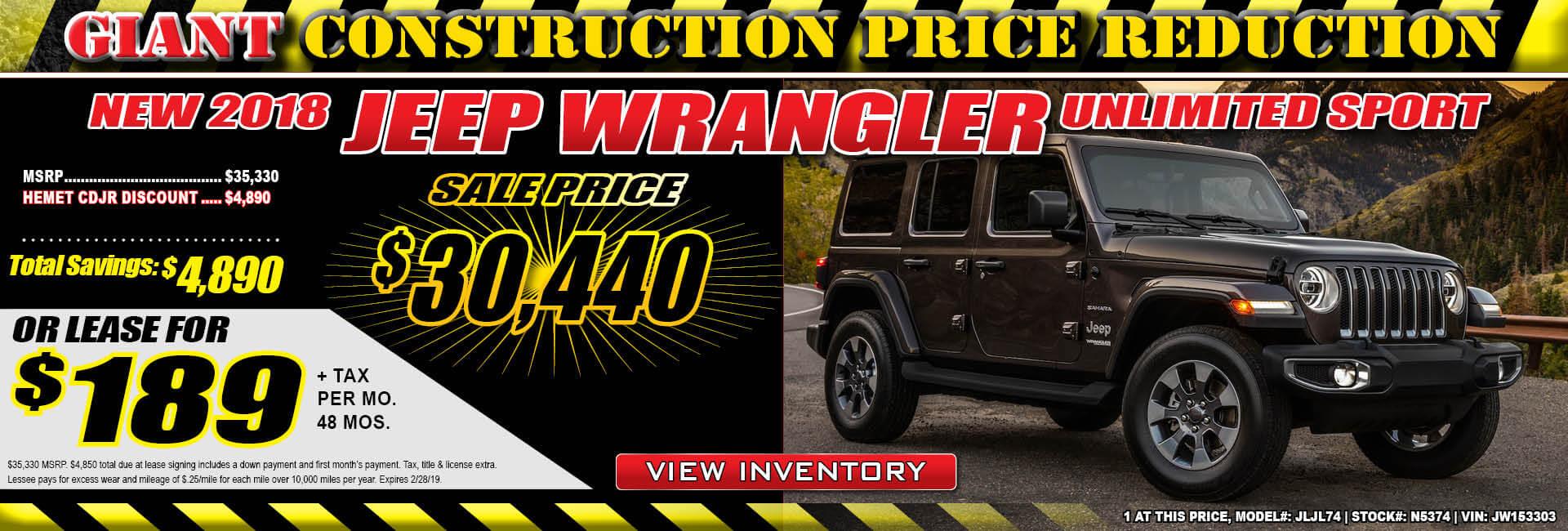 Jeep Wrangler $189 Lease