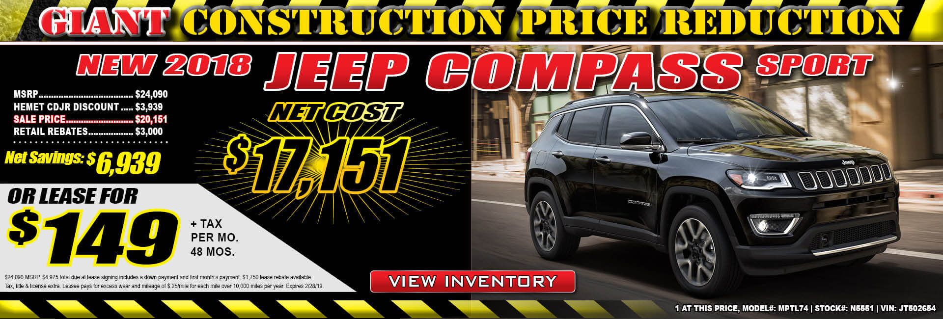 Jeep Compass $149 Lease
