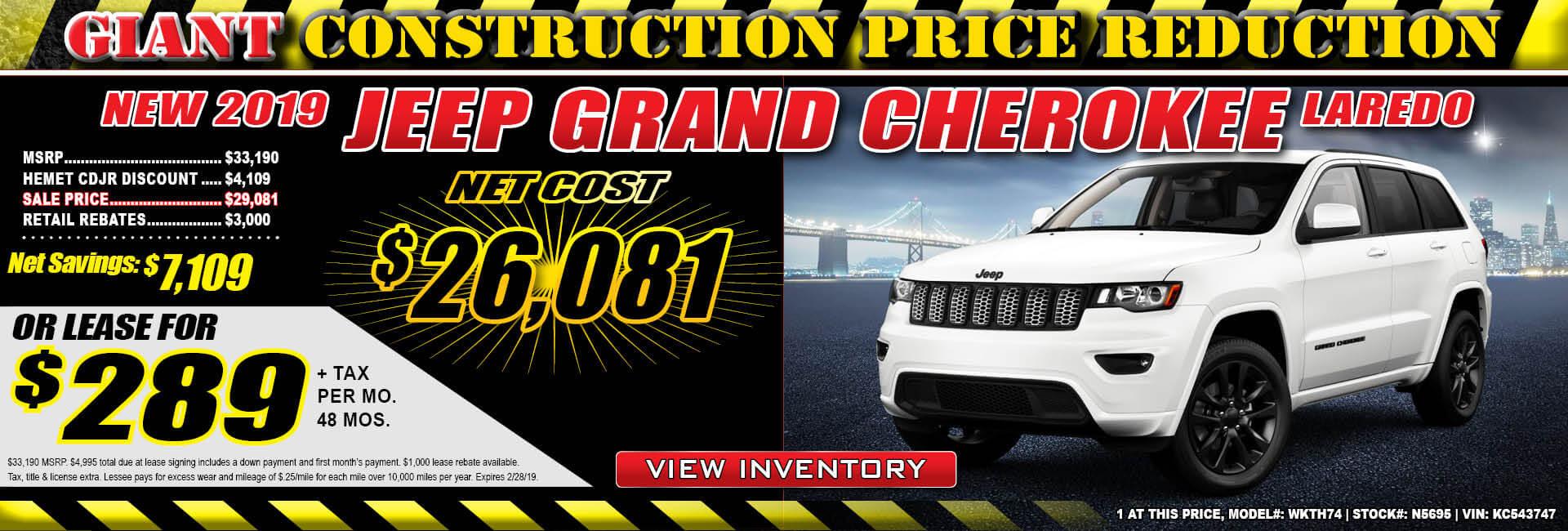 Jeep Grand Cherokee $289 Lease