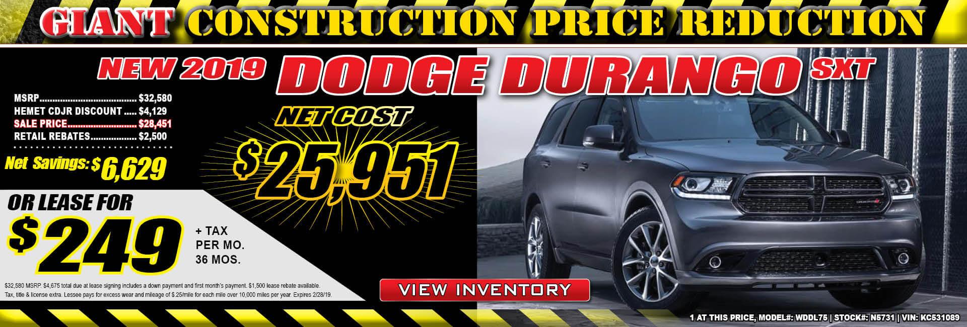 Dodge Durango $249 Lease