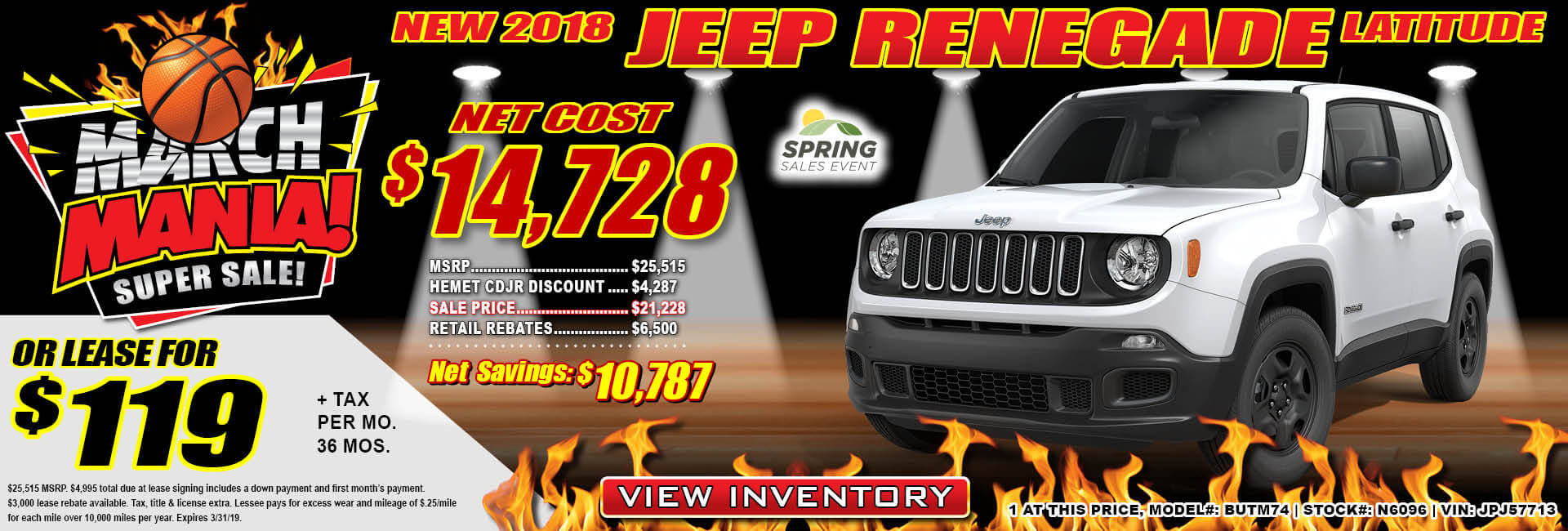 Jeep Renegade $119 Lease