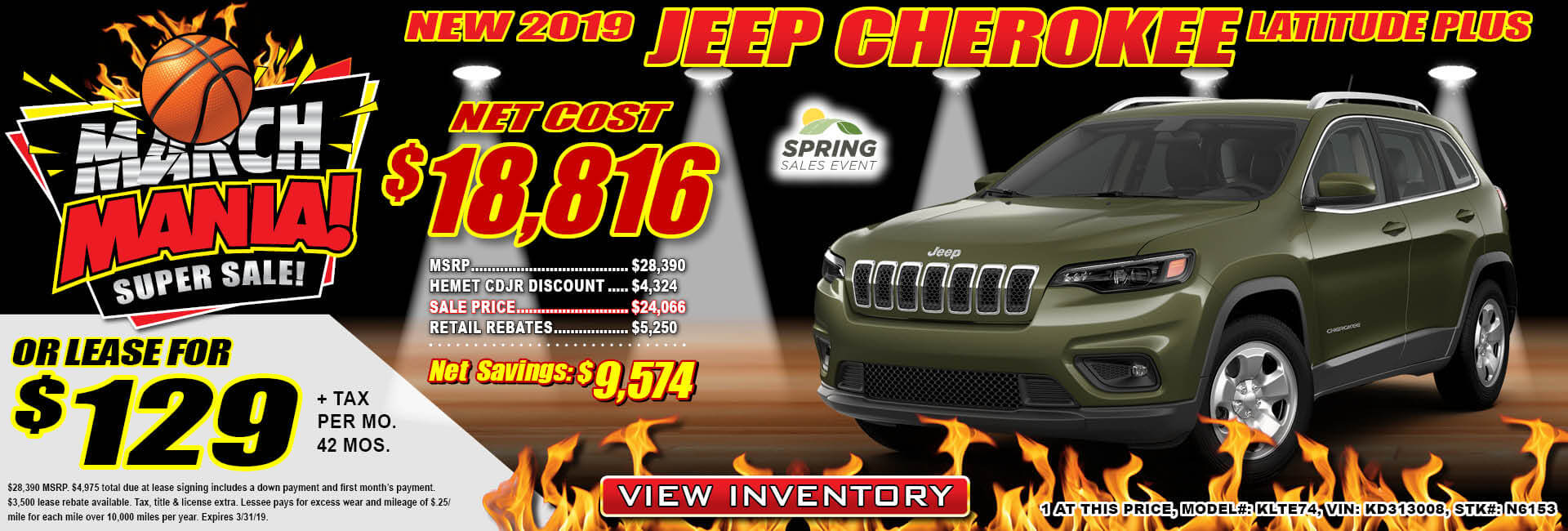Jeep Cherokee Lease $129