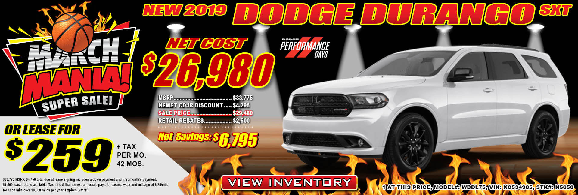 Dodge Durango $259 Lease