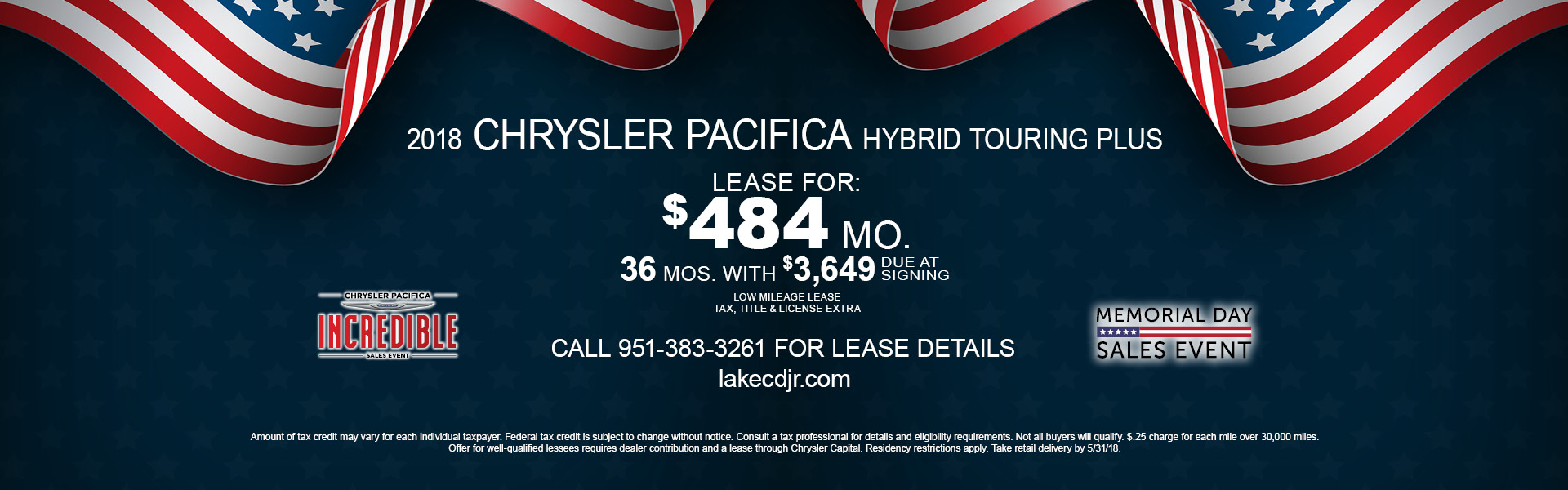 Chrysler Pacifica Hybrid Touring $484 Lease