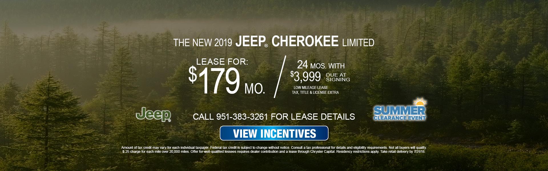 Jeep Cherokee $179 Lease