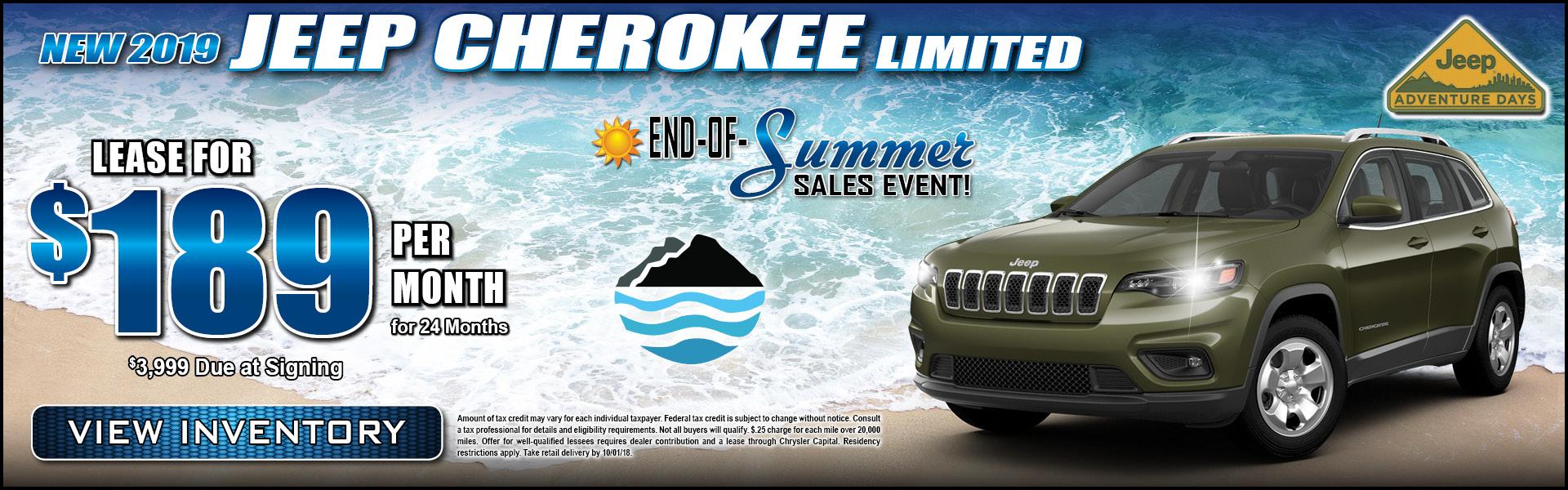 2019 Jeep Cherokee $189 Lease