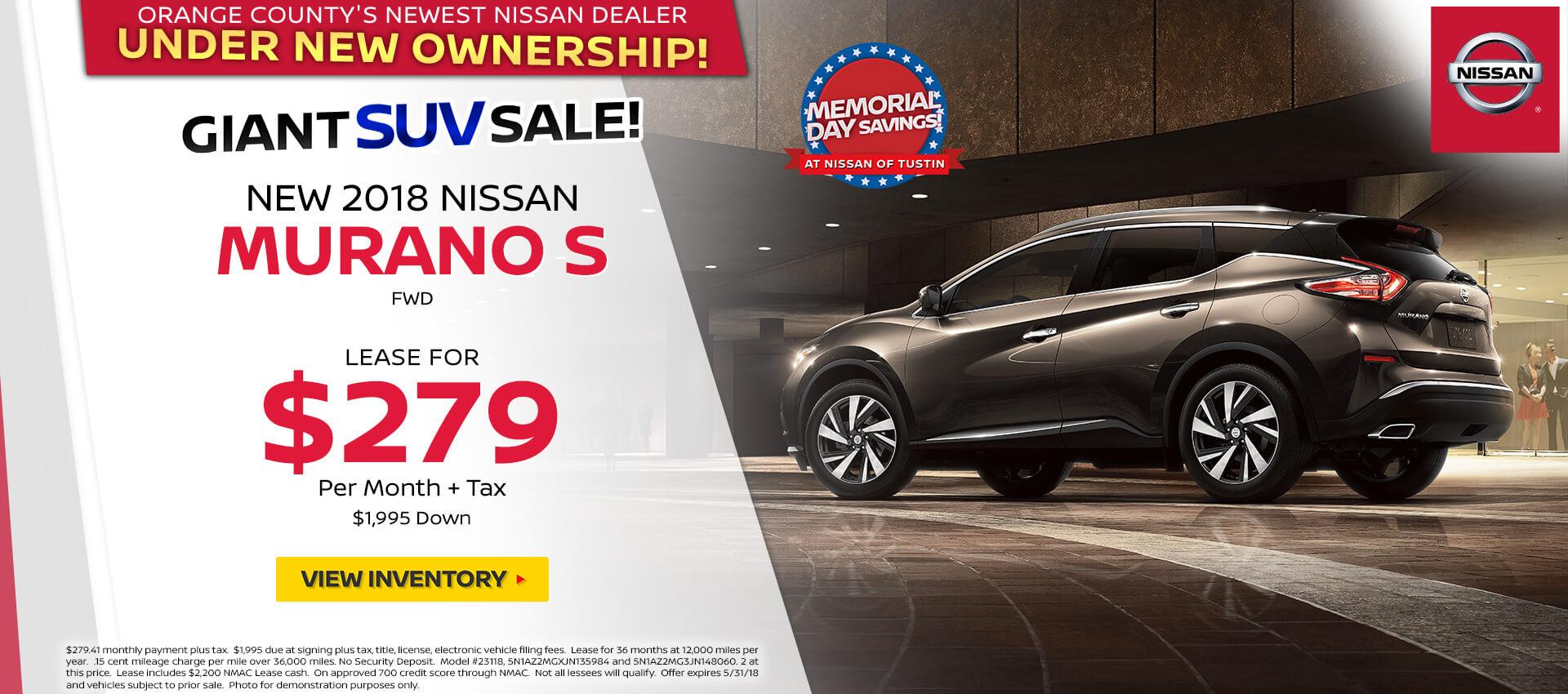 2018 Nissan Murano $279 Lease